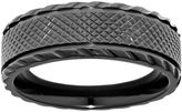 JCPenney FINE JEWELRY Mens Black Zirconium Textured Matte Center Wedding Band