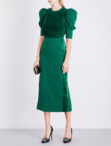 Elie Saab Juliet velvet-panel crepe dress