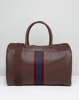 Asos Holdall In Brown With Taping Design To Front