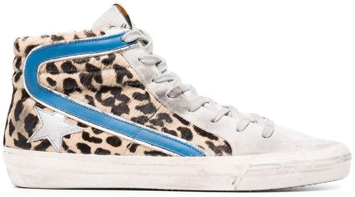 Golden Goose Leopard Print Slide Pony hi top sneakers