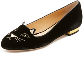 Black Flats With Gold Heel