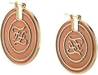 Fendi FF karligraphy engraved earrings