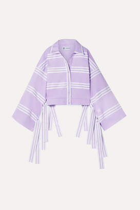 adidas + Ji Won Choi Fringed Striped Cotton-blend Jersey Track Jacket - Purple