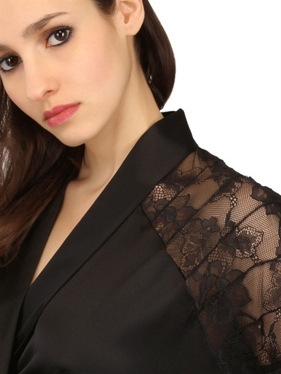 La Perla Silk Lace And Silk Satin Robe