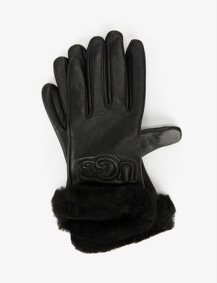 UGG Classic leather and wool-blend gloves