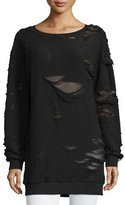 KENDALL + KYLIE Distressed Oversized Tunic Sweater, Black