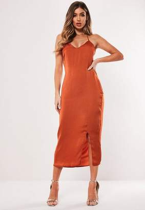 Missguided Rust Satin Strappy Cross Back Midi Dress