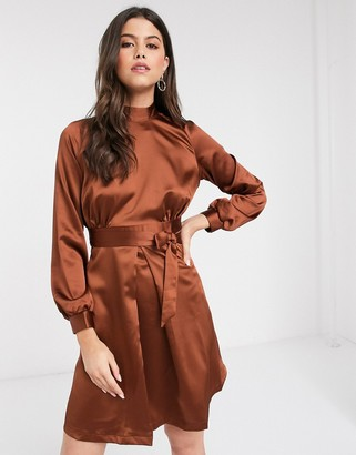 Closet London Closet high neck A line dress in brown
