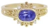 Megan Thorne Plume Cushion Cut Blue Sapphire Ring