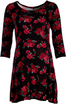 Glam Black & Red Floral Maternity Scoop Neck Tunic