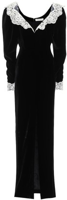 Alessandra Rich Lace-trimmed velvet gown