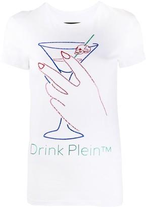 Philipp Plein Neon Drink rhinestone T-Shirt