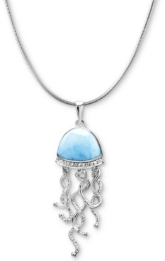 "Marahlago Larimar & White Sapphire Accent Jellyfish 21"" Pendant Necklace in Sterling Silver"