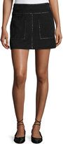 Joie Guadeloupe Studded Suede A-Line Mini Skirt, Black