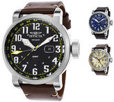 Invicta Men's Aviator GMT Stainless Steel Genuine Leather Band with Colored