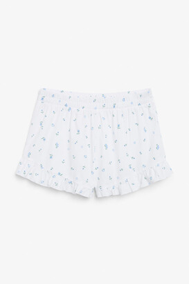 Monki Ruffle hem cotton shorts