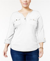 Charter Club Plus Size Striped Henley Top, Only at Macy's