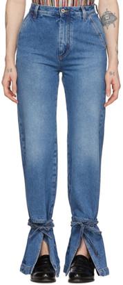 Loewe Blue Tie Cut Panel Jeans
