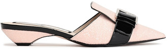 N°21 N21 Patent-paneled Buckle-embellished Glittered Woven Mules