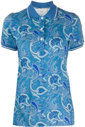 Etro Short Sleeve Floral-Print Polo Shirt