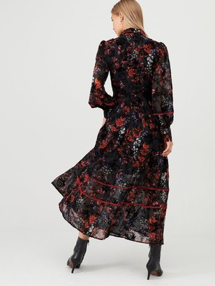 Very Floral Devore Midaxi Dress - Print