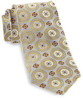 Gold Series Designed in Italy Large Circle Medallion Silk Tie Casual Male XL