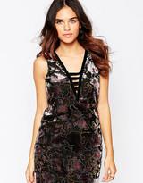 Asos Floral Velvet Devore Shift Dress With Strap Front Detail