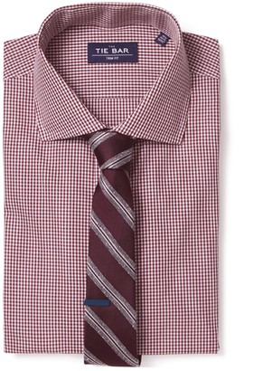 The Tie Bar Burgundy Petite Gingham Non-Iron Shirt