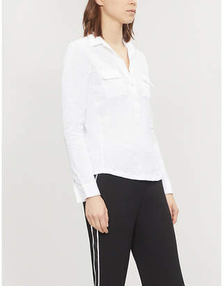 The White Company Marled patch-pocket cotton-jersey top