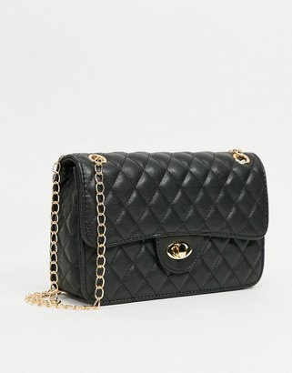 My Accessories London quilted cross body bag in black with chain