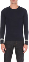 Hardy Amies Striped-cuff fine-knit jumper