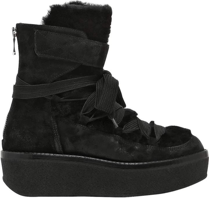 Janet & Janet Janet&janet 60mm Suede & Shearling Wedge Boots