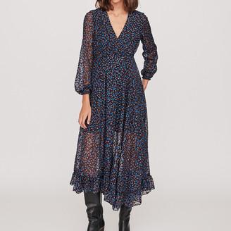 Maje Long asymmetrical devore dress