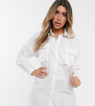 Sixth June oversized shirt dress with pocket buckle straps-White