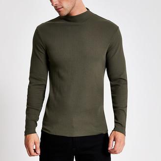 River Island Khaki turtle neck long sleeve T-shirt