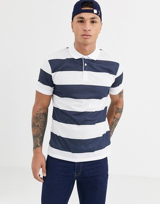 ASOS DESIGN wide stripe polo in navy and white