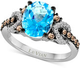 LeVian Le Vian Chocolatier® Blue Topaz (2-3/4 ct. t.w.) and Diamond (1/3 ct. t.w.) Ring in 14k White Gold