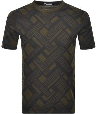 Versace Crew Neck Logo T Shirt Green