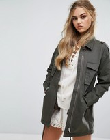 Honey Punch Oversized Military Coat Jacket