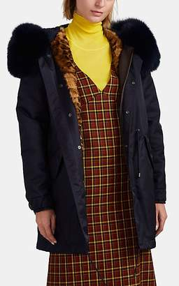 Mr & Mrs Italy Women's Fur-Trimmed-&-Lined Tech-Twill Parka - Navy