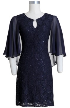 Connected Embellished Capelet Sheath Dress
