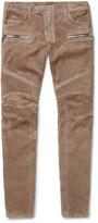 Balmain - Skinny-fit Suede Biker Trousers