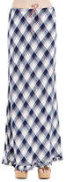 Max Studio Plaid Navy Maxi Long Skirt