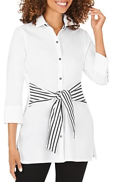 Foxcroft Michaela Striped Tie-Waist Tunic Top