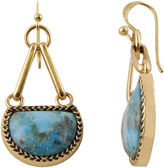 Barse BIJOUX BAR Art Smith by Genuine Blue Turquoise Brass Drop Earrings