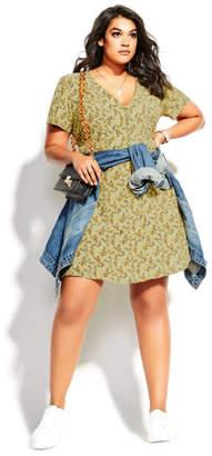 City Chic Vintage Ditsy Dress - pistachio