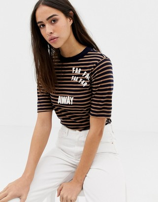 Maison Scotch Far far Away stripe t-shirt-Black