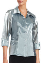 Alex Evenings Metallic Button-Front Shirt