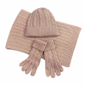 Pinicecore Ladies Autumn Winter Warm Solid Color Scarf Hat Glove Sets Women Thick Knit Soft Knitted Woollen Set