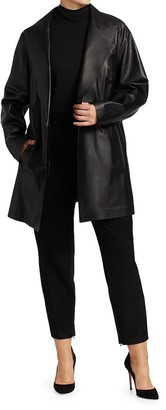 Lafayette 148 New York, Plus Size Kourt Peak-Lapel Leather Jacket